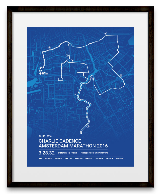 Super Amsterdam Marathon Poster Personalised map poster &QR94