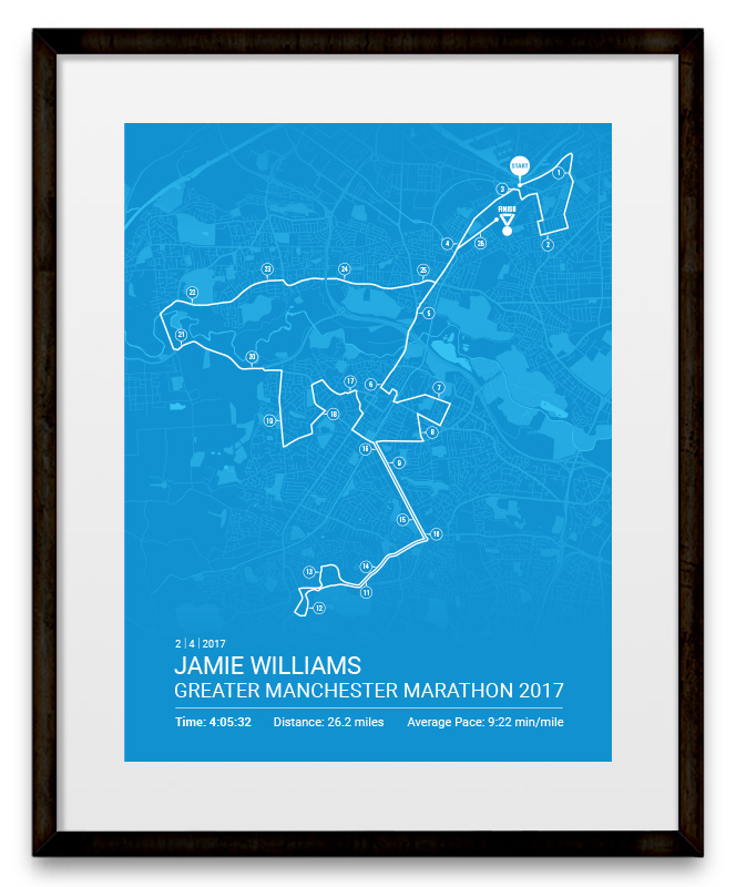 Greater Manchester Marathon Personalised Map Poster