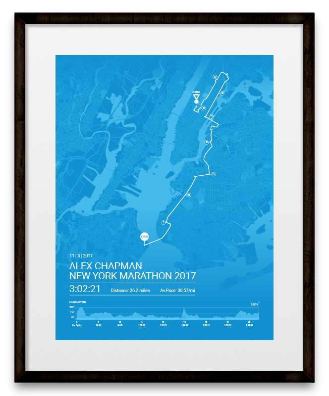 Map Of New York Marathon 2017.New York Marathon Personalised Bespoke Route Map Poster