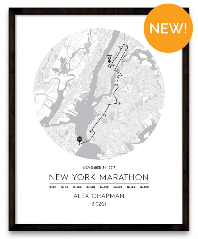 New York Marathon Personalised Bespoke Route Map Poster Circle
